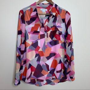 3/$20 Liz Claiborne Pink Purple Abstract Blouse